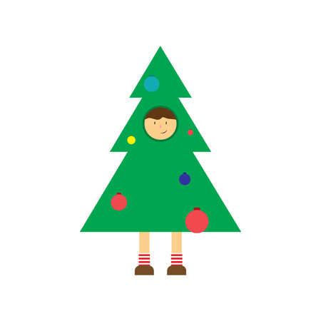 2019 Happy New Year greeting card. Christmas tree in green color.