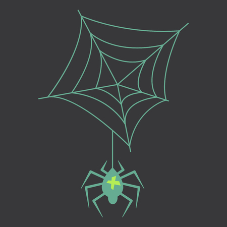 spider and torn web. Scary spiderweb of halloween symbol. Isolated vector illustration Иллюстрация