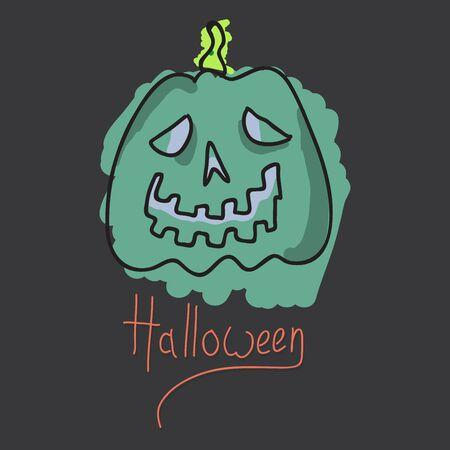 Halloween pumpkin with face on dark background. Vector cartoon Illustration. Stockfoto - 130558789