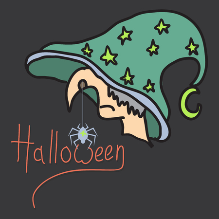 Halloween grungy witch in hat . Lettering greeting cards for all holidays series.