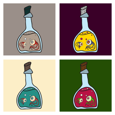toxic potion in small glass bottle with cork and paper tag with Halloween isolated cartoon flat vector illustration on background.