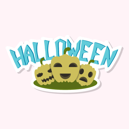 Halloween pumpkin with face on dark background. Vector cartoon Illustration.
