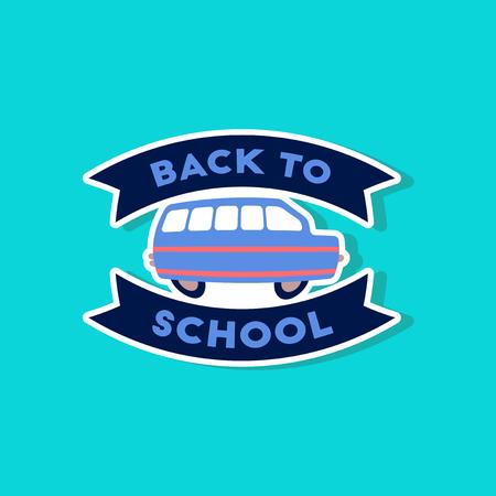 paper sticker on stylish background Back to school bus