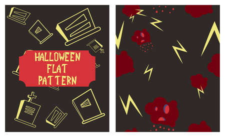 Set of Halloween festive pattern.