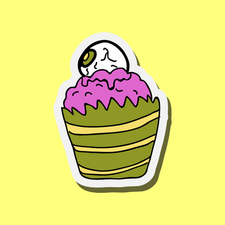 Vector illustration of halloween cupcake on background. Happy halloween scary sweets