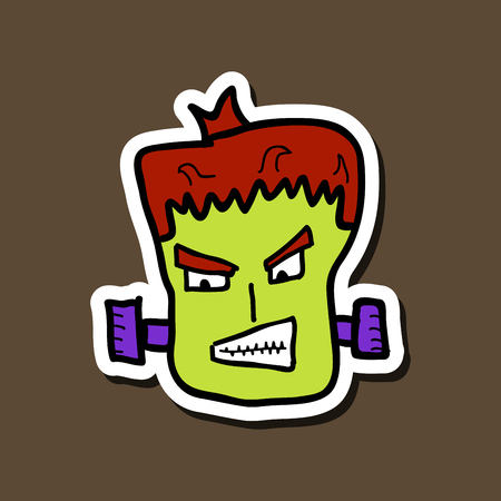 Cartoon zombie head. Vector illustration with gradients.