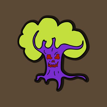 Halloween scary trees, vector