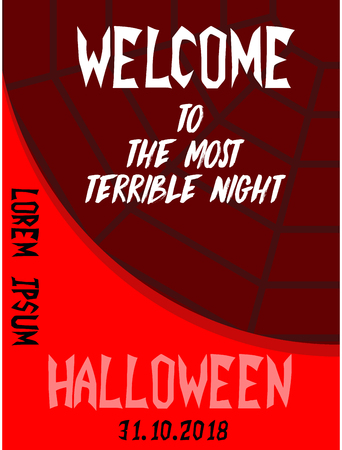 Halloween vertical background. Flyer or invitation template for Halloween party. Vector illustration.