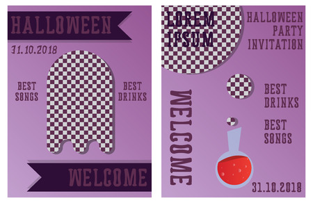 Set of Halloween Concepts. Vector Illustration. Pumpkin and Spider Web, Witch Hat and Cauldron, Skull and Bones, Night Party. Trick or Treat.