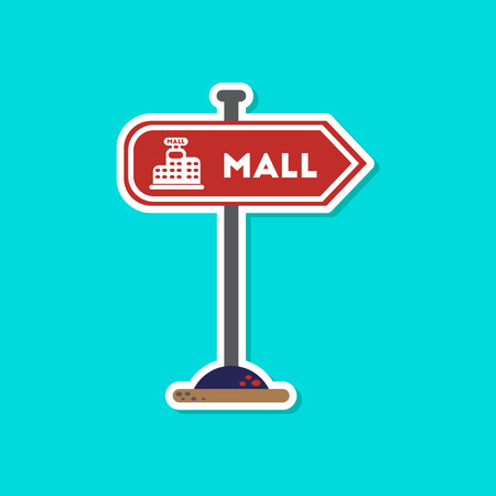 paper sticker on stylish background mall sign