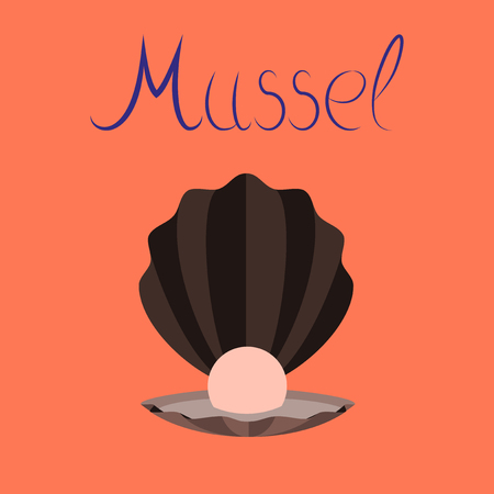 flat illustration on background mussel  イラスト・ベクター素材