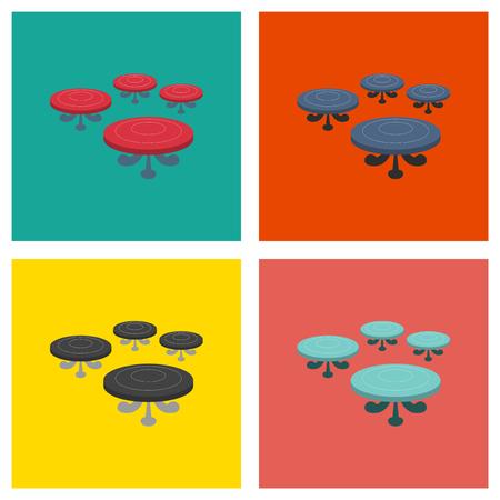 Set of Poker table. Flat illustration.