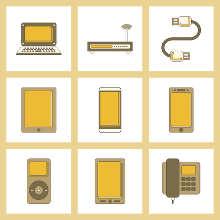 assembly flat icon Wi fi modem mobile phone gadget usb cable music player laptop Illustration