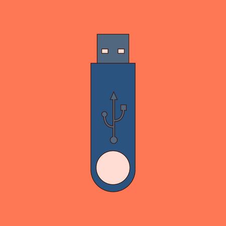 flat icon on stylish background flash drive 向量圖像