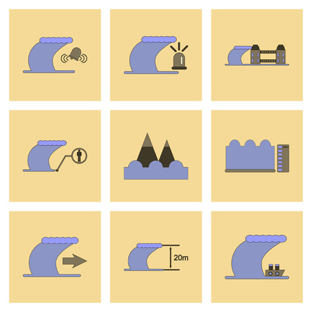 assembly of flat icons nature disaster tsunami