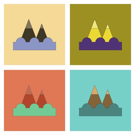 assembly flat icons tsunami mountains