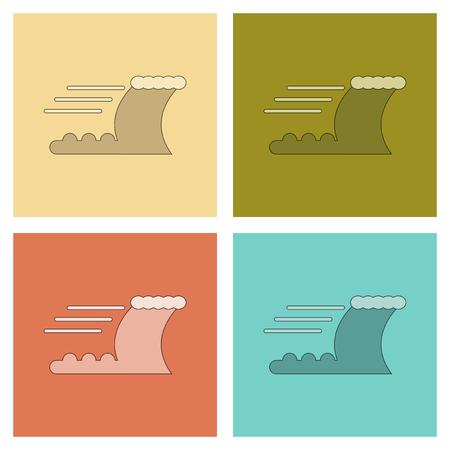 assembly of flat icons nature ocean tsunami Иллюстрация