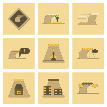 assembly flat icons nature disaster tsunami