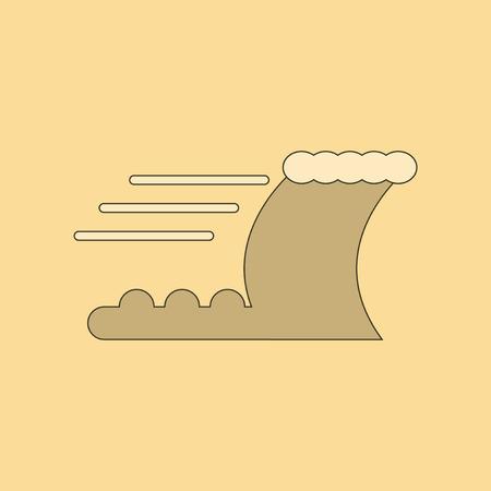 flat icon on stylish background ocean tsunami