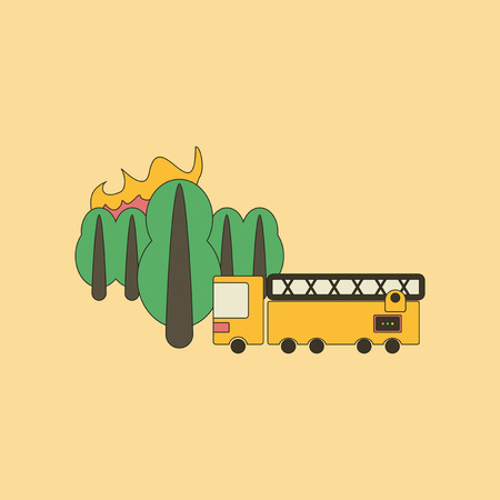 flat icon on stylish background Forest fire truck