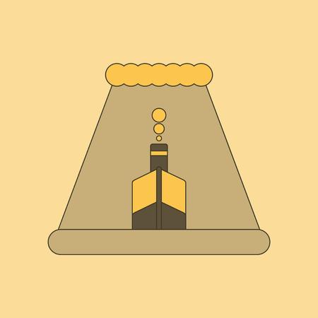 flat icon on stylish background ship storm
