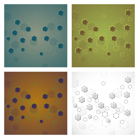 Set of science template, wallpaper or banner with a DNA molecules. Vector illustration.
