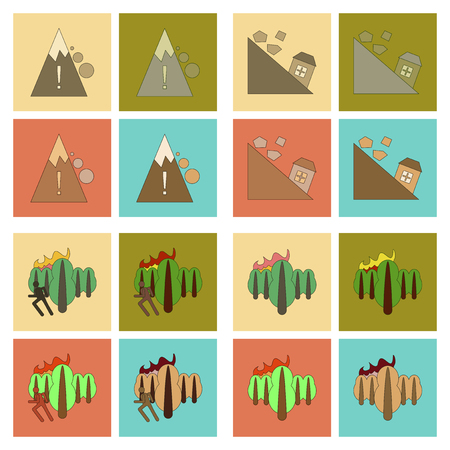 assembly of flat icons danger natural disasters Çizim