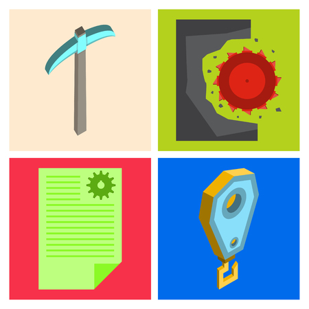 Set of vector construction and industrial icons. Mining and digging tools. helmet, paint, crane, wall, truck, jackhammer, and more. Editable Stroke  イラスト・ベクター素材