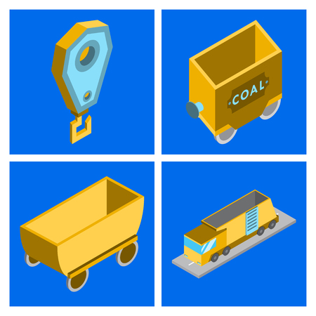 Set of vector construction and industrial icons. Mining and digging tools. helmet, paint, crane, wall, truck, jackhammer, and more. Editable Stroke Imagens - 124994024