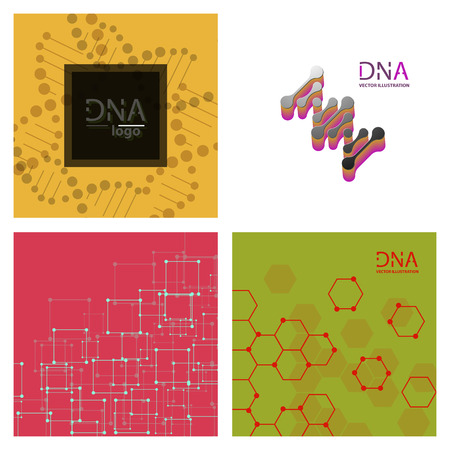 Set of abstract DNA strand symbol. Isolated on white background. Vector illustration, eps 10.