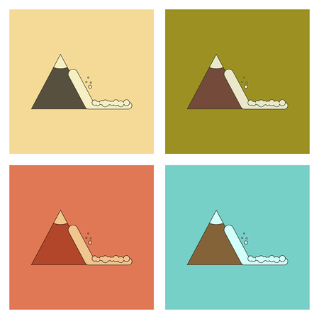 assembly of flat icons mountains snow avalanche