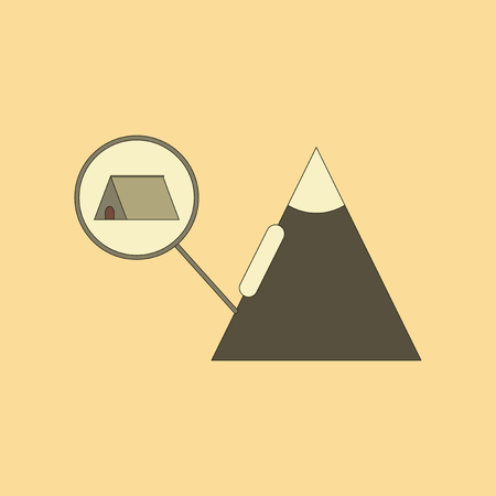 flat icon on stylish background tent tourists snow avalanche