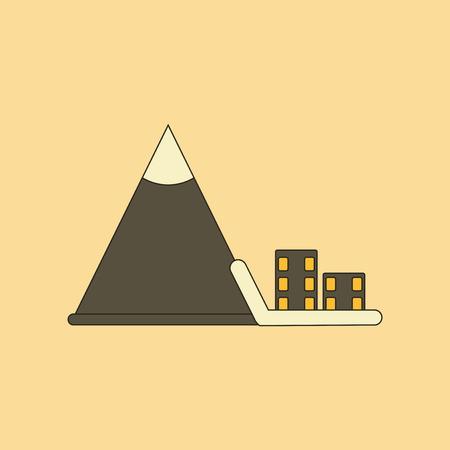flat icon on stylish background Mountain avalanche house