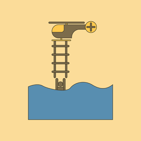 flat icon on stylish background people in the water Helicopter