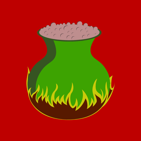 flat illustration on stylish background of potion cauldron Banco de Imagens - 124994054