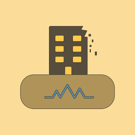 flat icon on stylish background natural disaster earthquake  イラスト・ベクター素材