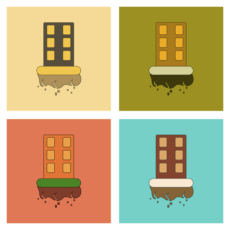 assembly of flat icons natural disaster earthquake Illustration