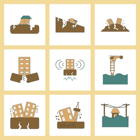 assembly of flat icons disaster earthquake and flood