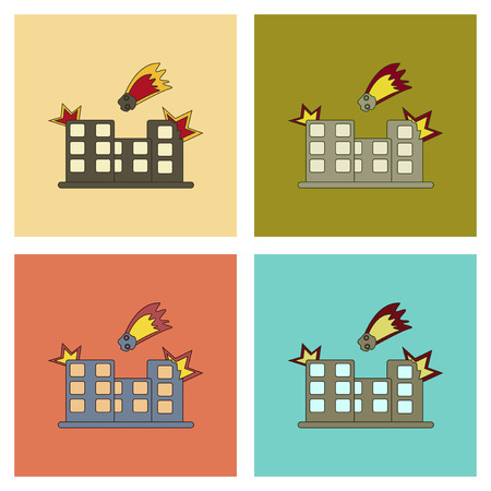 assembly flat icons meteorite falling on house Illustration