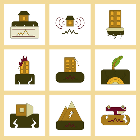 assembly of flat icons natural disaster earthquake Ilustração