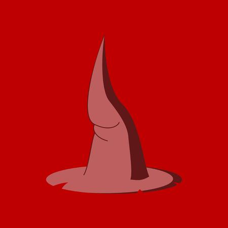 flat illustration on stylish background of witch hat Imagens - 124994086