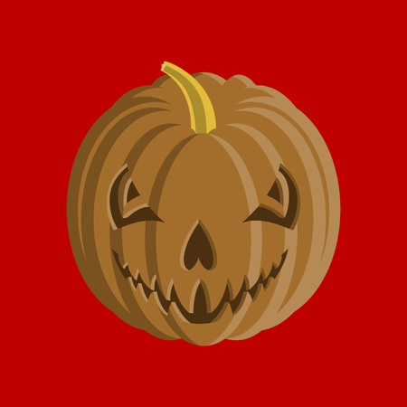 flat illustration on stylish background of Halloween pumpkin emotions Banco de Imagens - 124994087