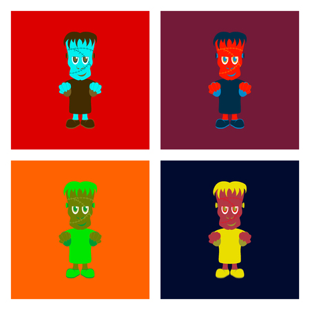 assembly of flat illustration halloween zombie men