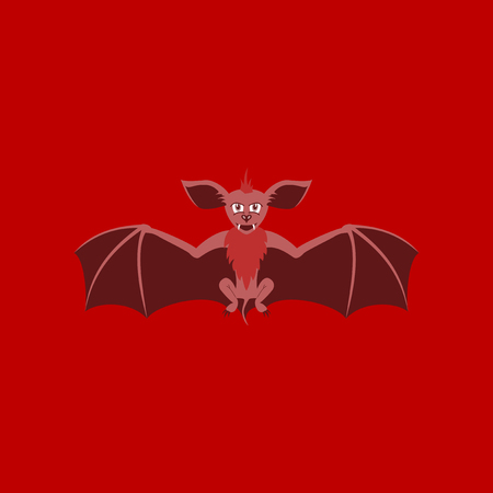 flat illustration on stylish background of cute bat