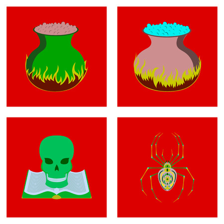 assembly of flat illustration halloween danger spider book skull cauldron bat