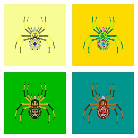 assembly of flat illustration halloween danger spider Banco de Imagens - 124994102