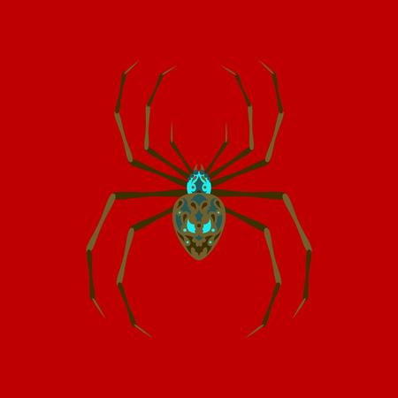 flat illustration on stylish background of halloween spider