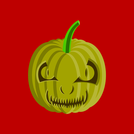 flat illustration on stylish background of Halloween pumpkin emotions Banco de Imagens - 124994110