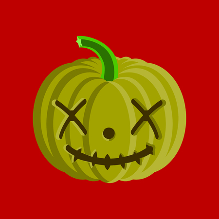 flat illustration on stylish background of Halloween pumpkin emotions Banco de Imagens - 124994111