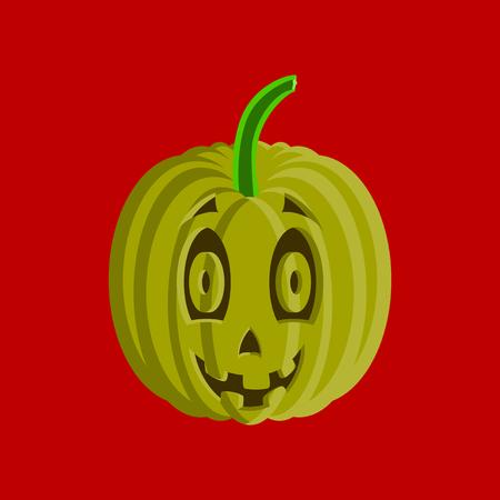 flat illustration on stylish background of Halloween pumpkin emotions Banco de Imagens - 124994112